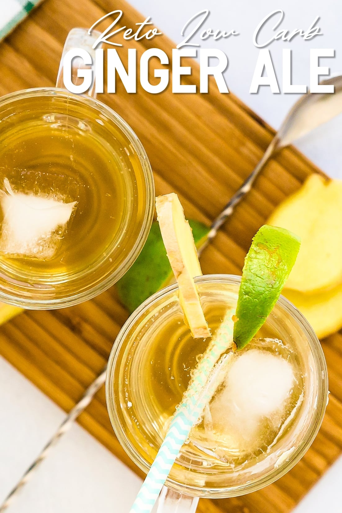 Homemade Ginger Ale Top Down Shot