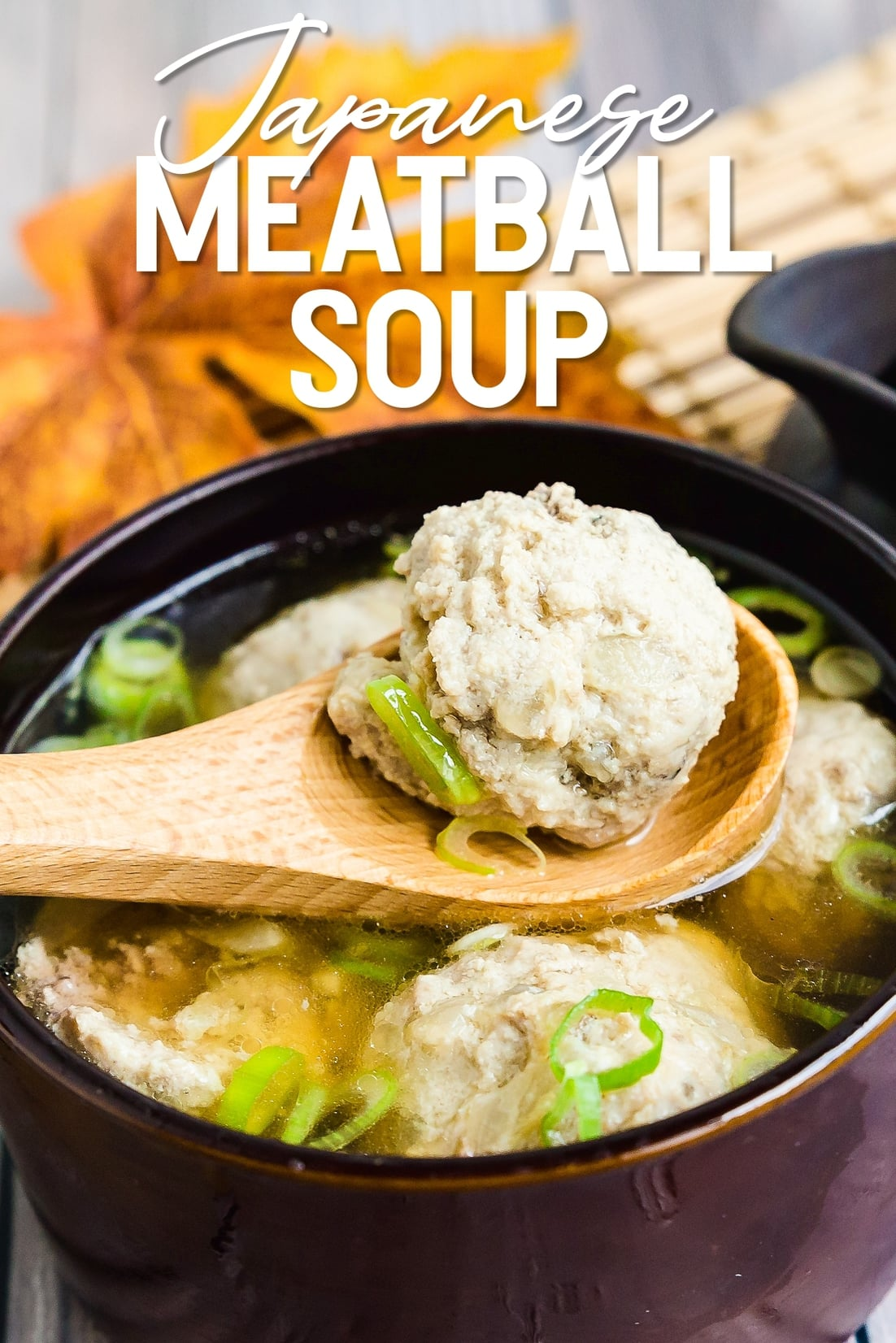 Japanese Meatball Dango Soup with a spoon