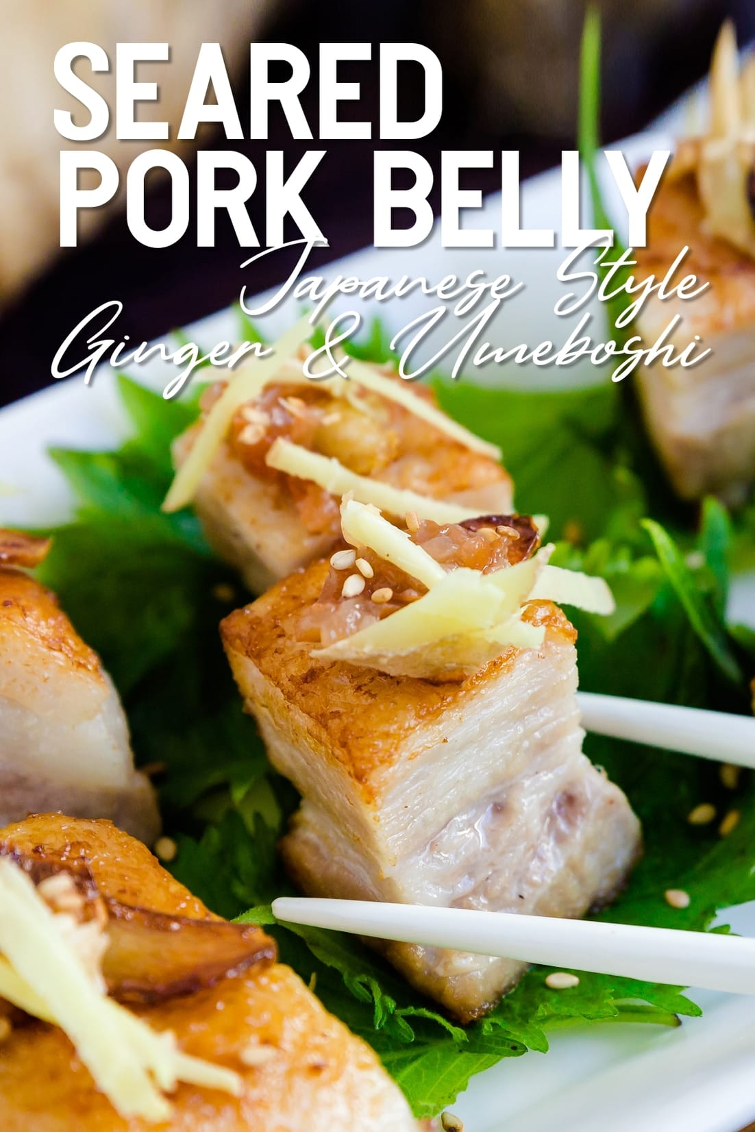 Japanese Style Seared Pork Belly with chopsticks