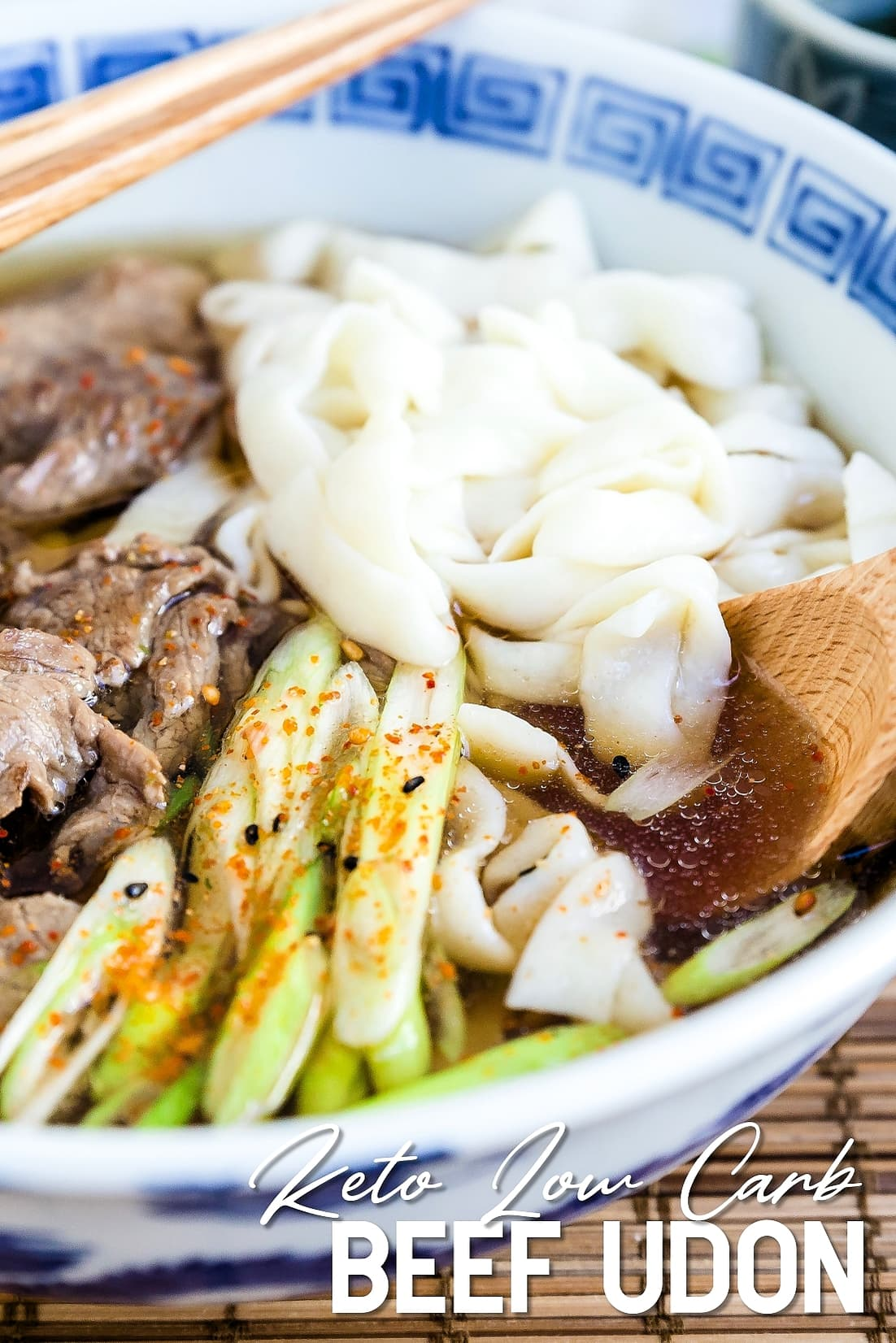 Keto Low Carb Beef Udon close up