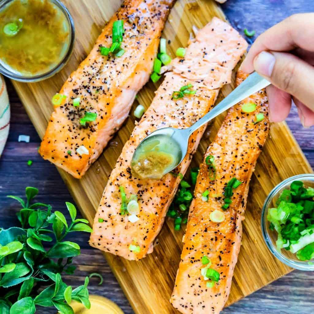 Keto Low Carb Yuzu Japanese Style Seared Salmon LowCarbingAsian Pic 2