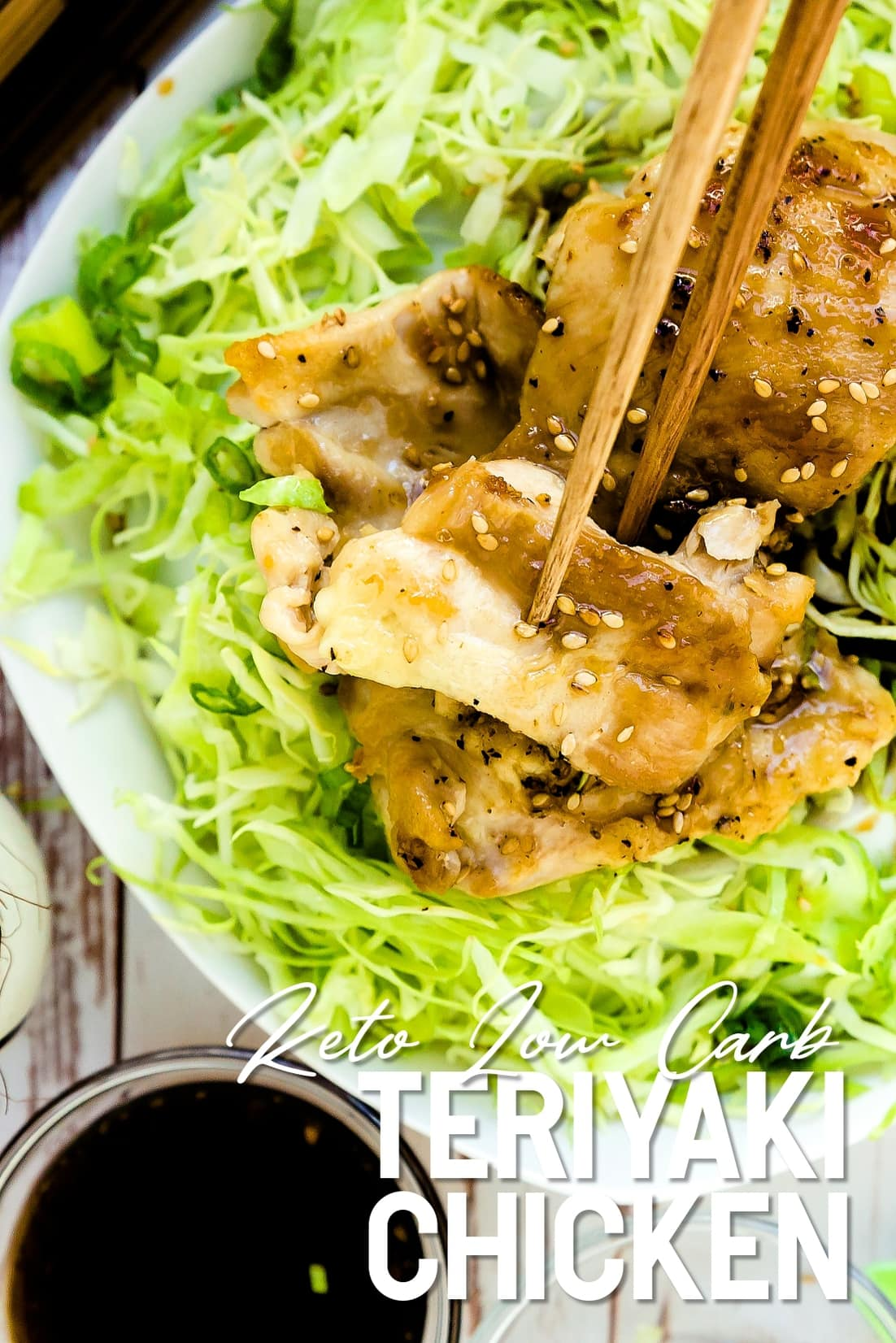 Keto Teriyaki Chicken with chopsticks