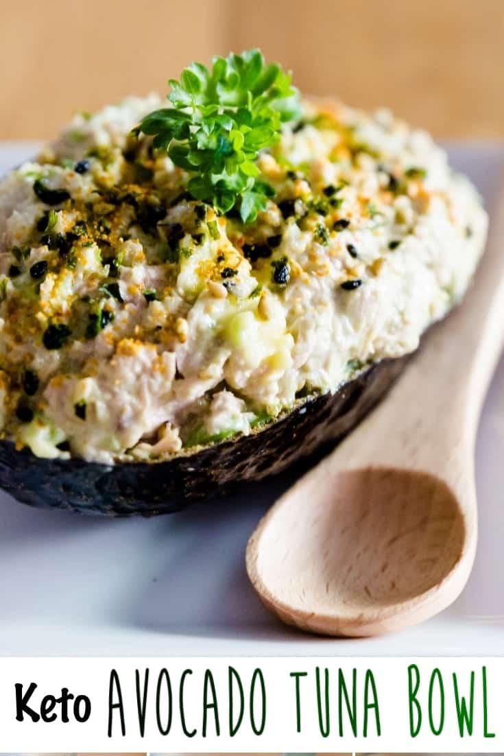 Keto Low Carb Avocado Tuna Bowl Pin 2