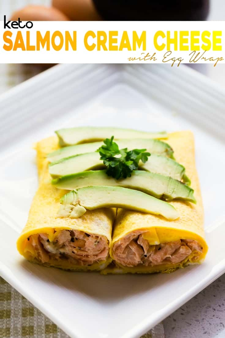 keto Salmon Cream Cheese Egg Roll Up pin 1