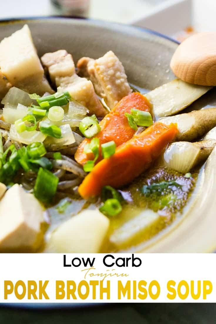 Low Carb Tonjiru Pork Miso Soup pin 1