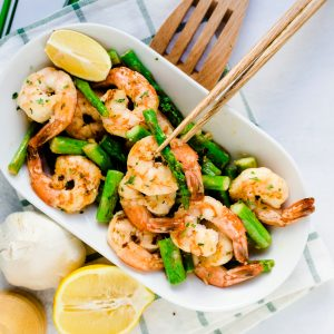Shrimp Asparagus in Garlic Butter LowCarbingAsian Cover