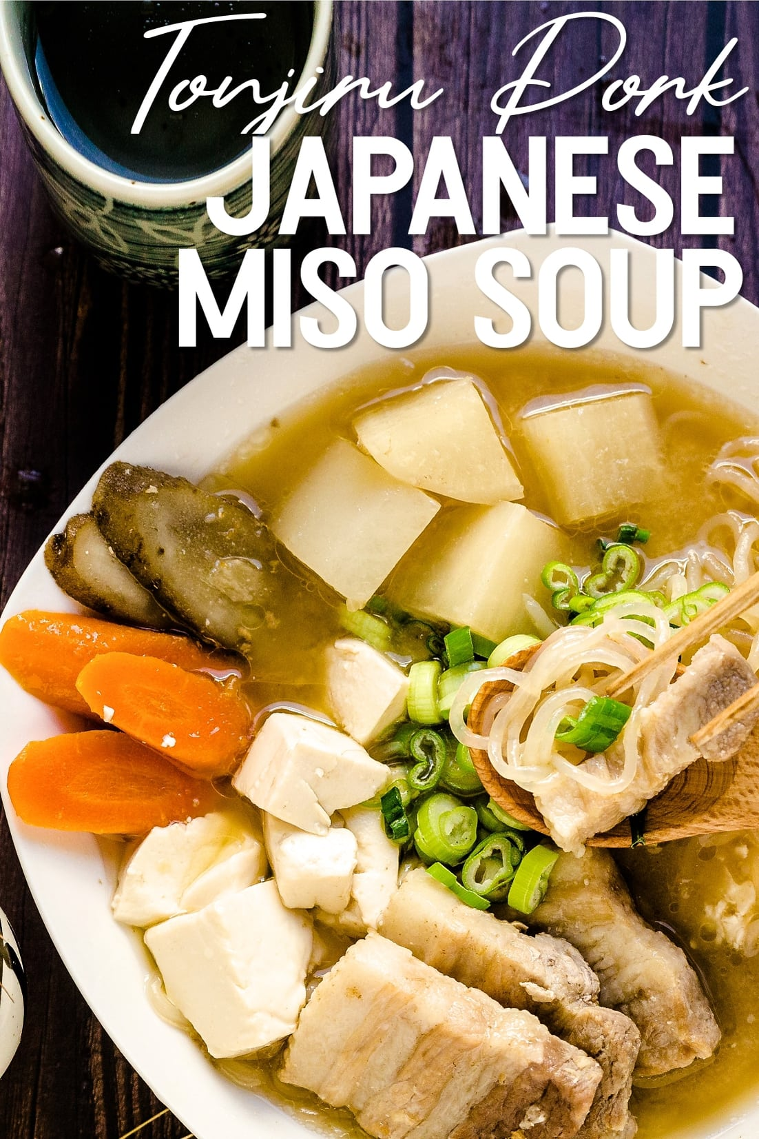 Tonjiru Pork Miso Soup with chopsticks