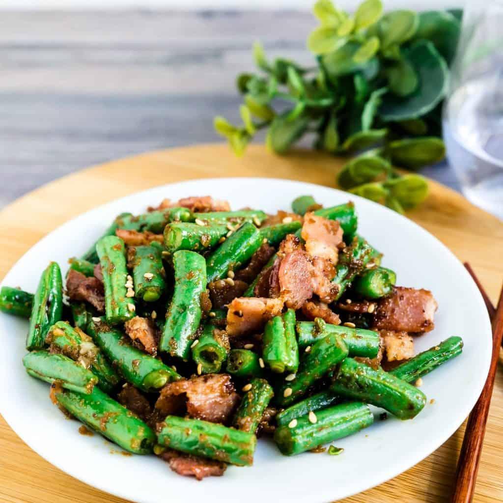 Bacon Garlic Green Beans Stir Fry LowCarbingAsian Pic 1