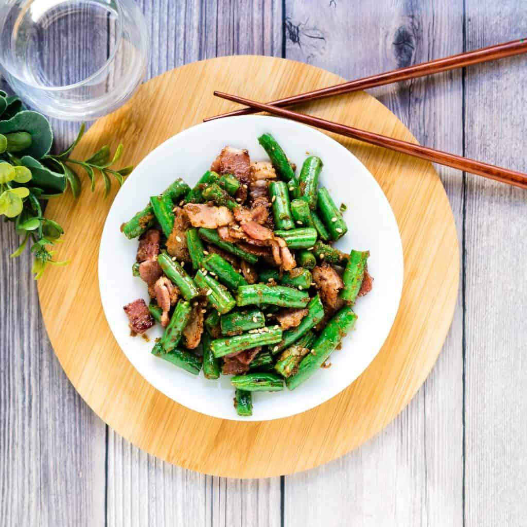 Bacon Garlic Green Beans Stir Fry LowCarbingAsian Pic 2