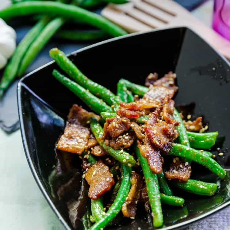 keto Bacon Infused Garlic Green Beans Stir Fry cover