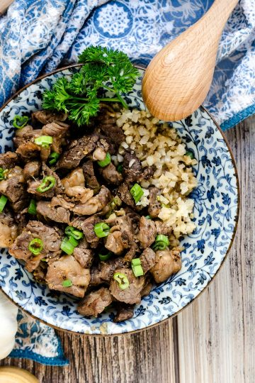 Garlic Steak Cubes Cauliflower Rice LowCarbingAsian Cover