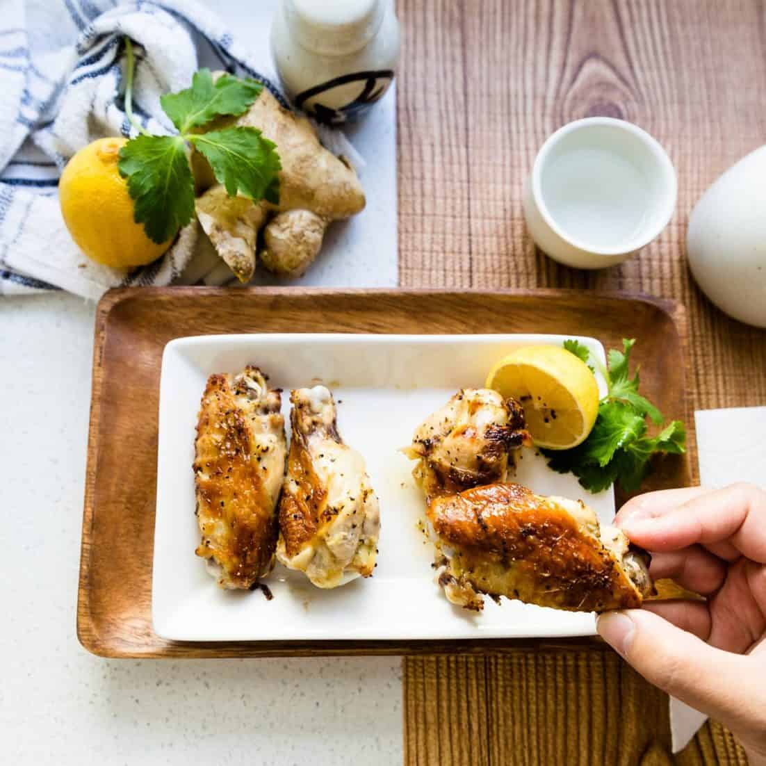 keto low carb Ginger Sake Chicken Wings pic
