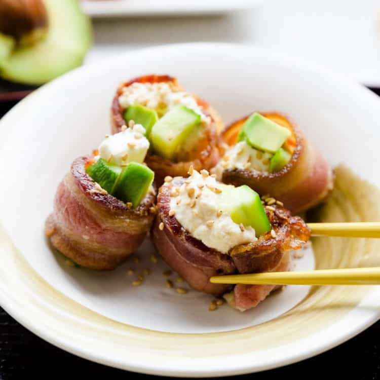 keto Bacon Wrapped Cream Cheese California Roll cover