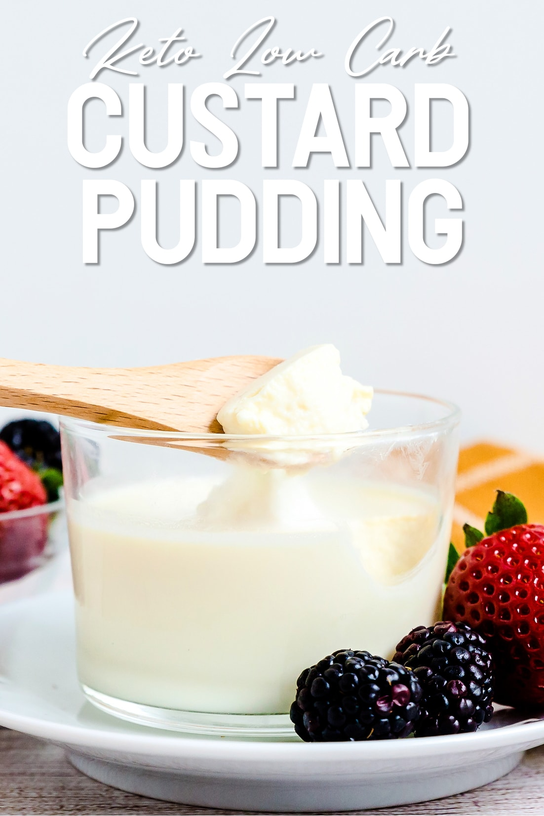 Custard Pudding with a Spoon