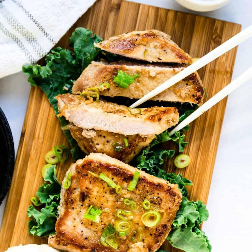 Keto Low Carb Asian Garlic Pork Chops LowCarbingAsian Pic 1