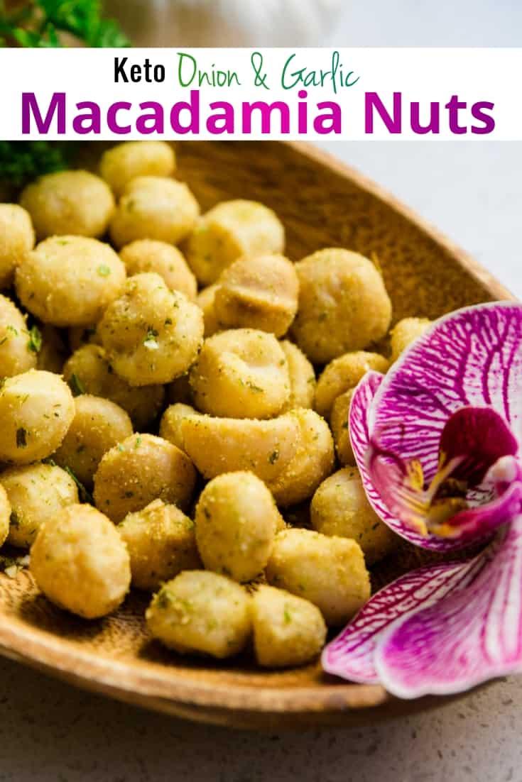 keto Onion Garlic Macadamia Nuts pin 1