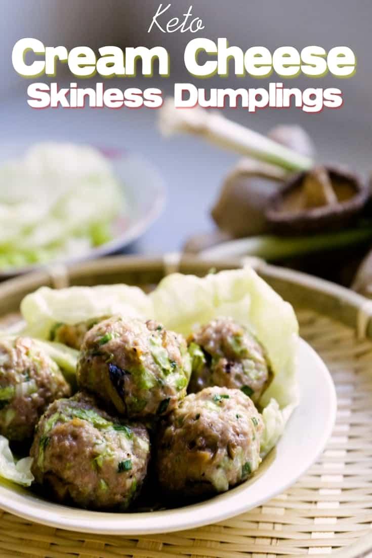 keto low carb Cream Cheese Skinless Dumplings pin 2
