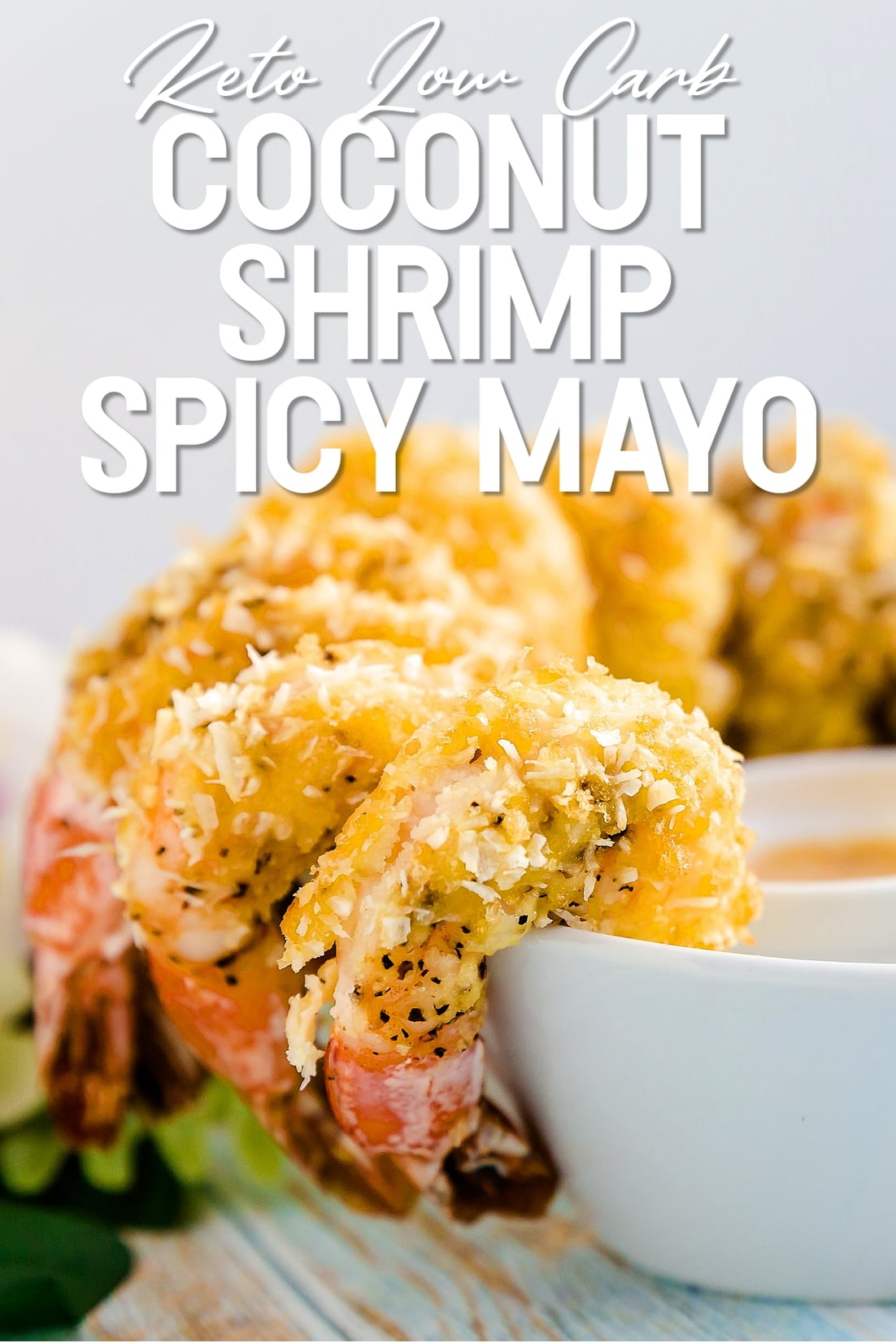 Coconut Shrimp with Japanese Spicy Mayo Sauce close up