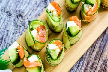Cucumber Wrapped Cream Cheese Philly Roll LowCarbingAsian Cover
