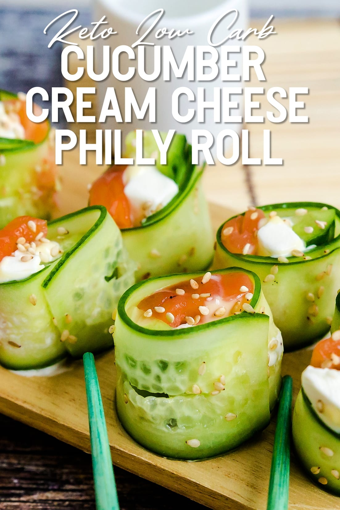 Cucumber Wrapped Cream Cheese Philly Roll with chopsticks