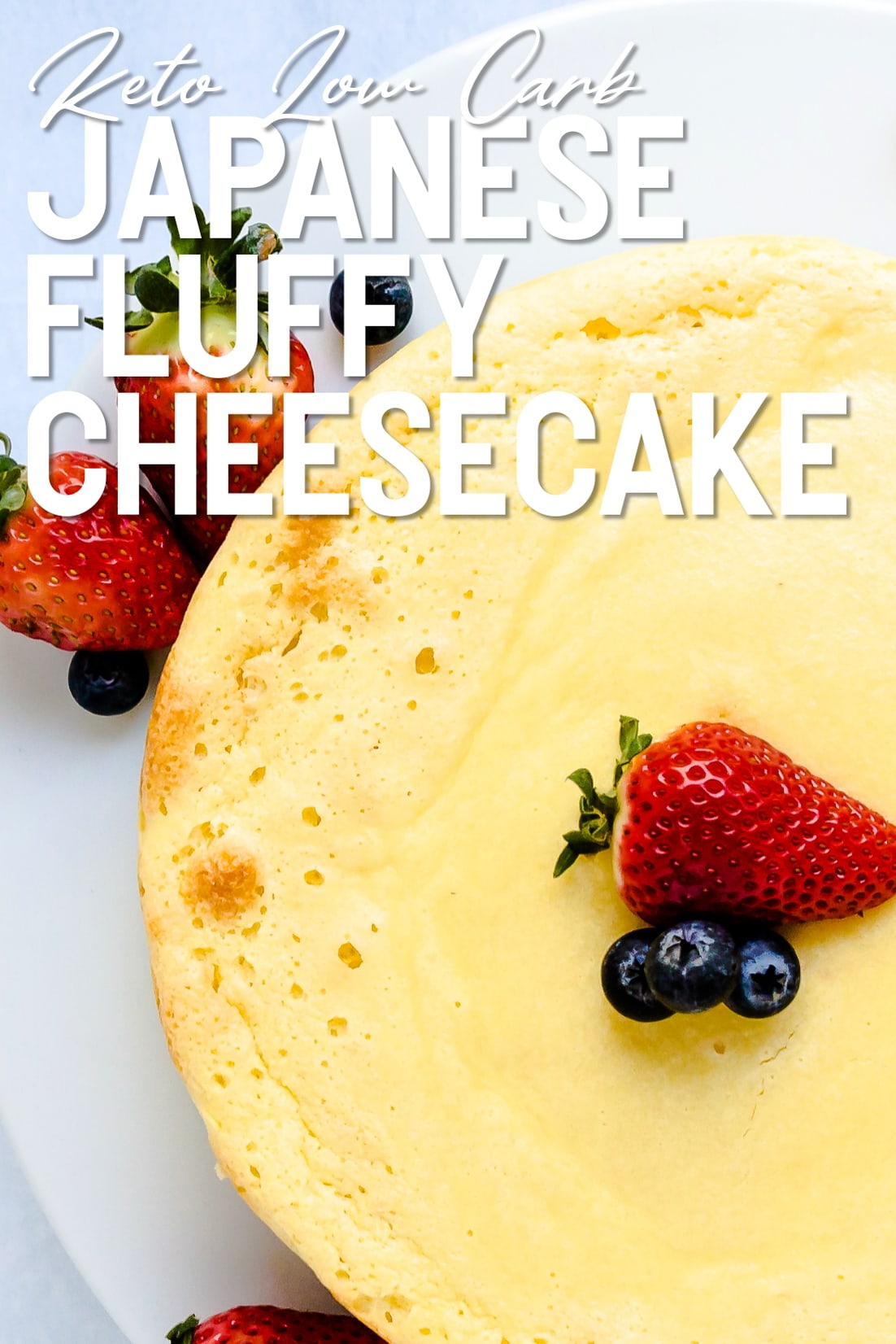 Japanese Fluffy Cheesecake whole top down shot