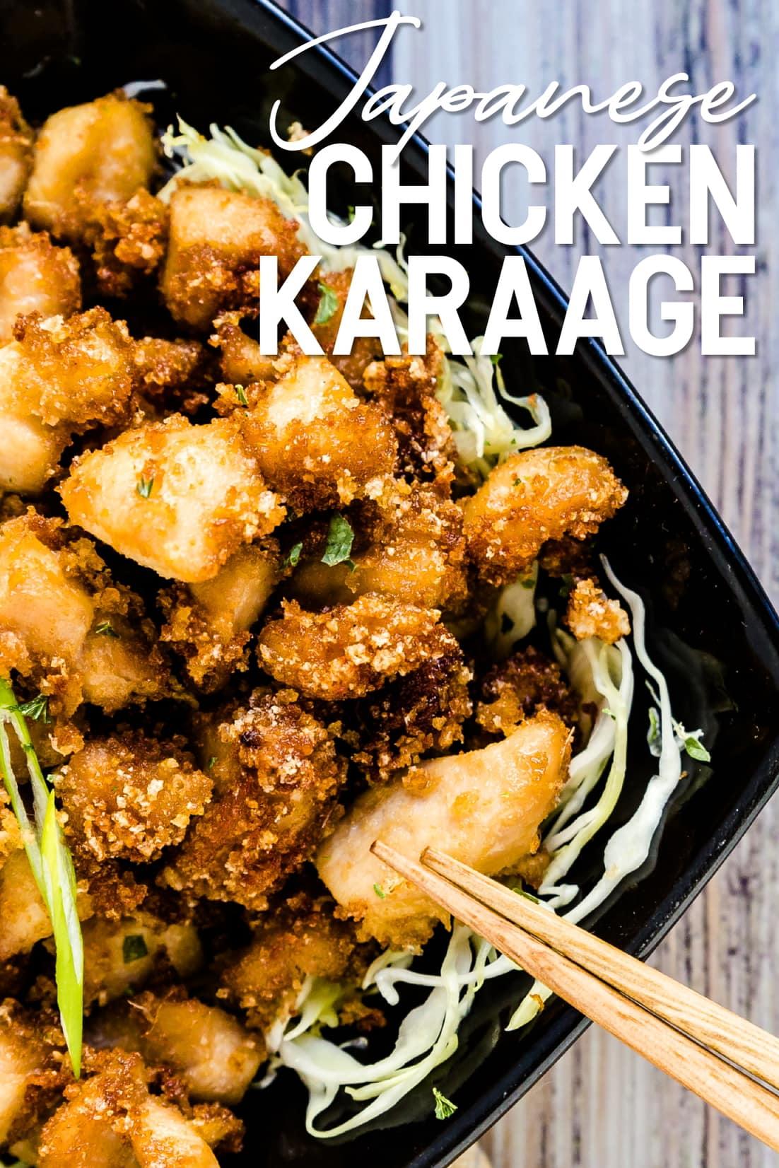 Japanese style chicken karaage with chopsticks