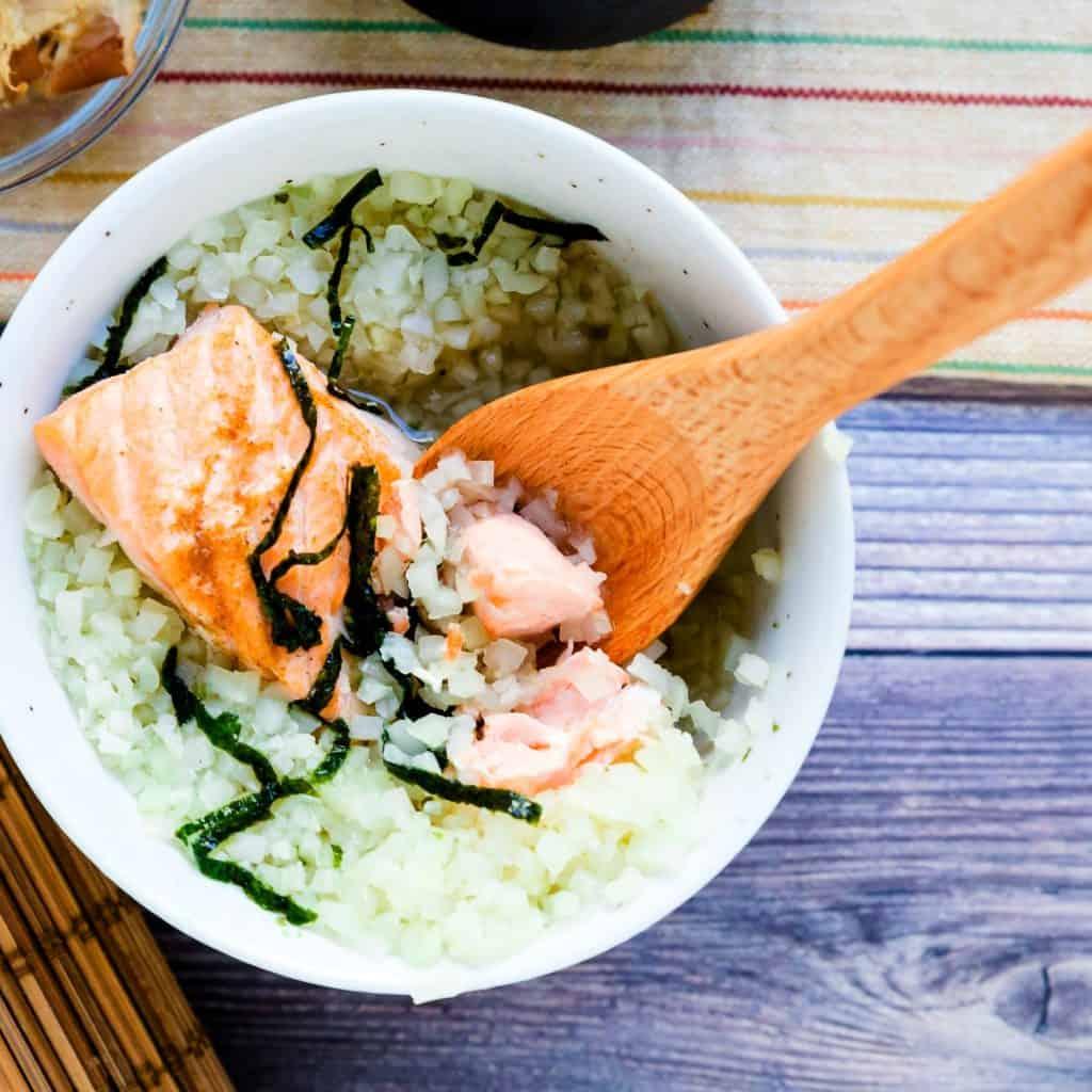 Keto Low Carb Japanese Salmon Breakfast Soup - Ochazuke LowCarbingAsian Pic 2