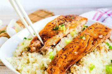 Keto Low Carb Teriyaki Salmon Bowl with Cauliflower Rice LowCarbingAsian Cover 2
