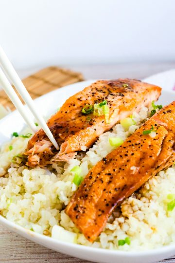 Keto Low Carb Teriyaki Salmon Bowl with Cauliflower Rice LowCarbingAsian Cover 2