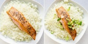 Low Carb Keto Teriyaki Salmon Bowl with Cauliflower Rice Recipe (25)