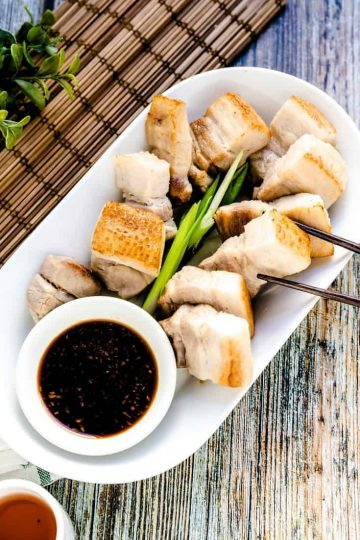 Taiwanese Crispy Pork Belly in Garlic Soy Sauce LowCarbingAsian Cover