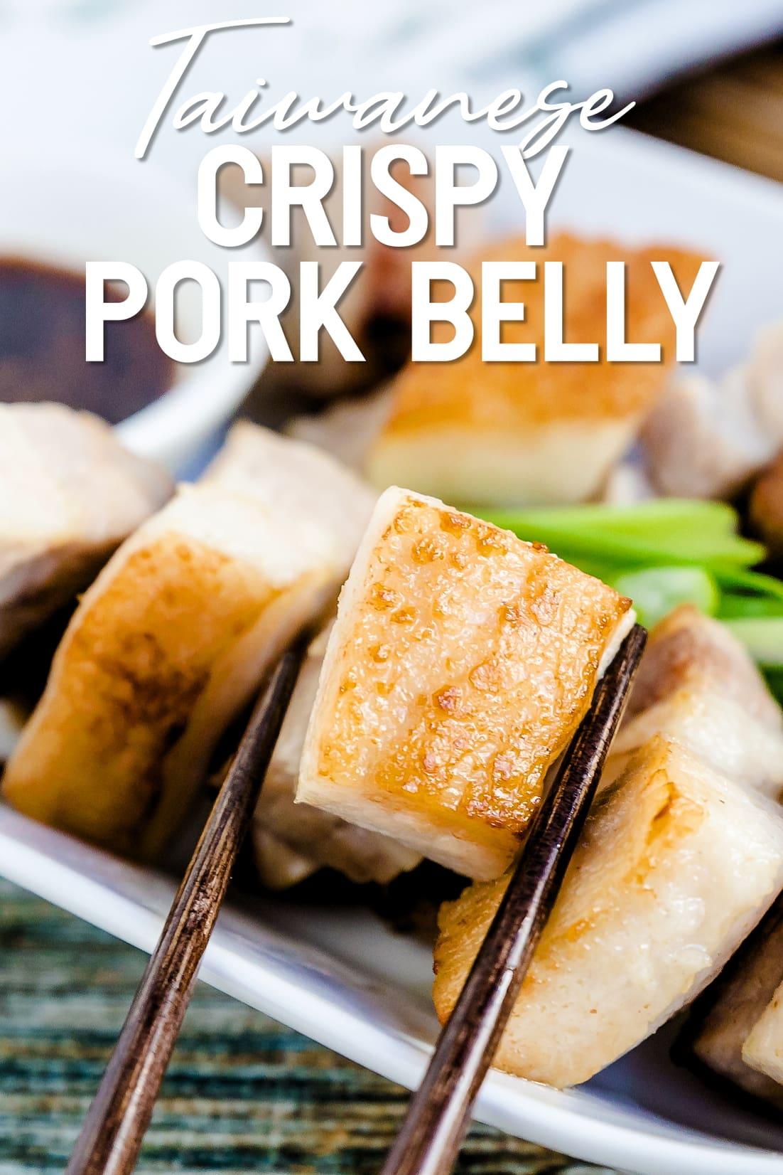 Taiwanese Crispy Pork Belly with chopsticks