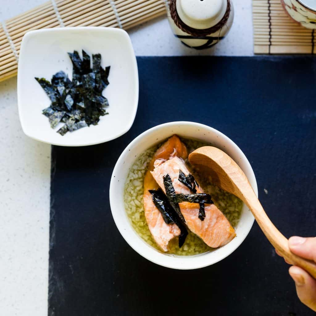 keto Japanese Salmon Breakfast Soup - Ochazuke pic
