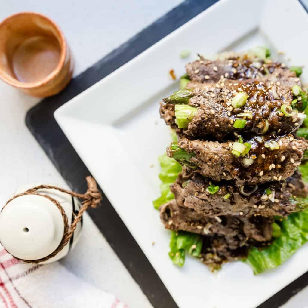 keto Soy Glazed Asparagus Beef Rolls pic