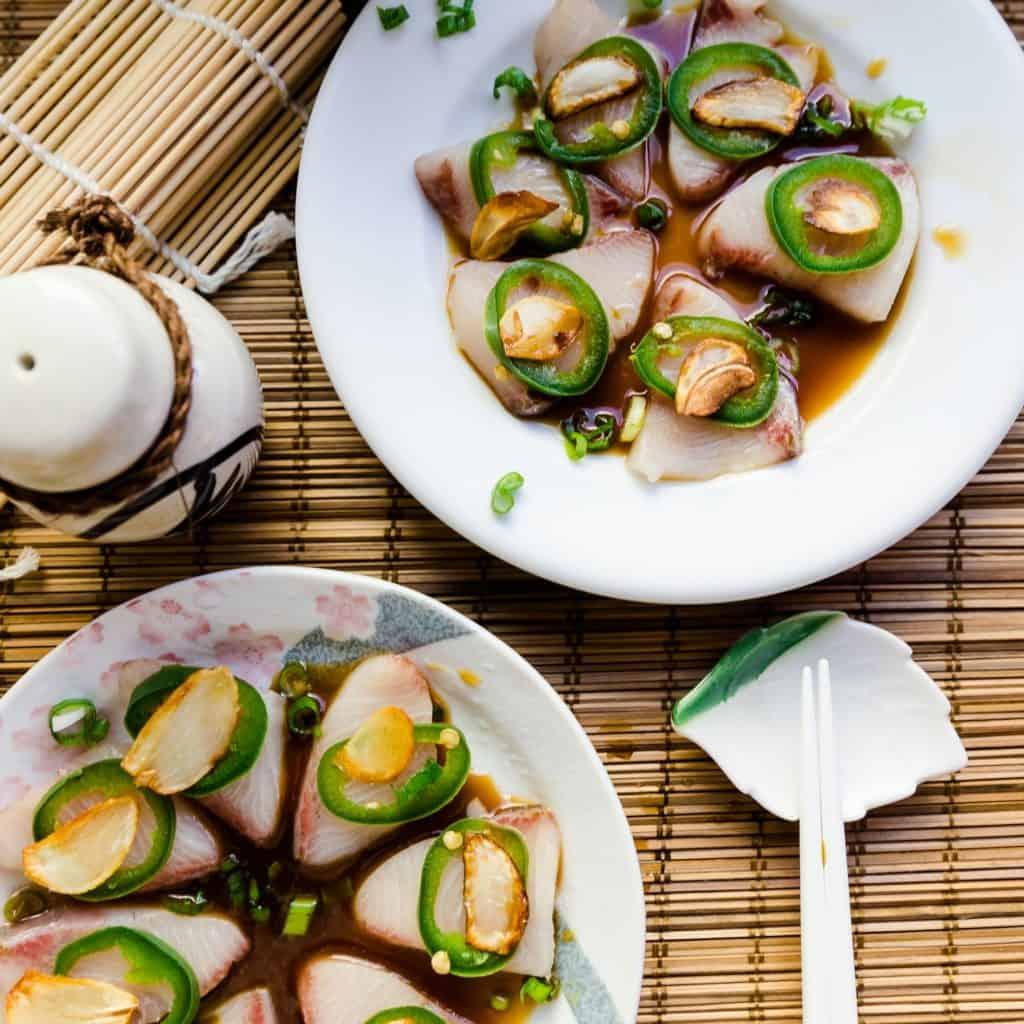 keto Hamachi Yellowtail Garlic Jalapeno Carpaccio in Yuzu Sauce pic