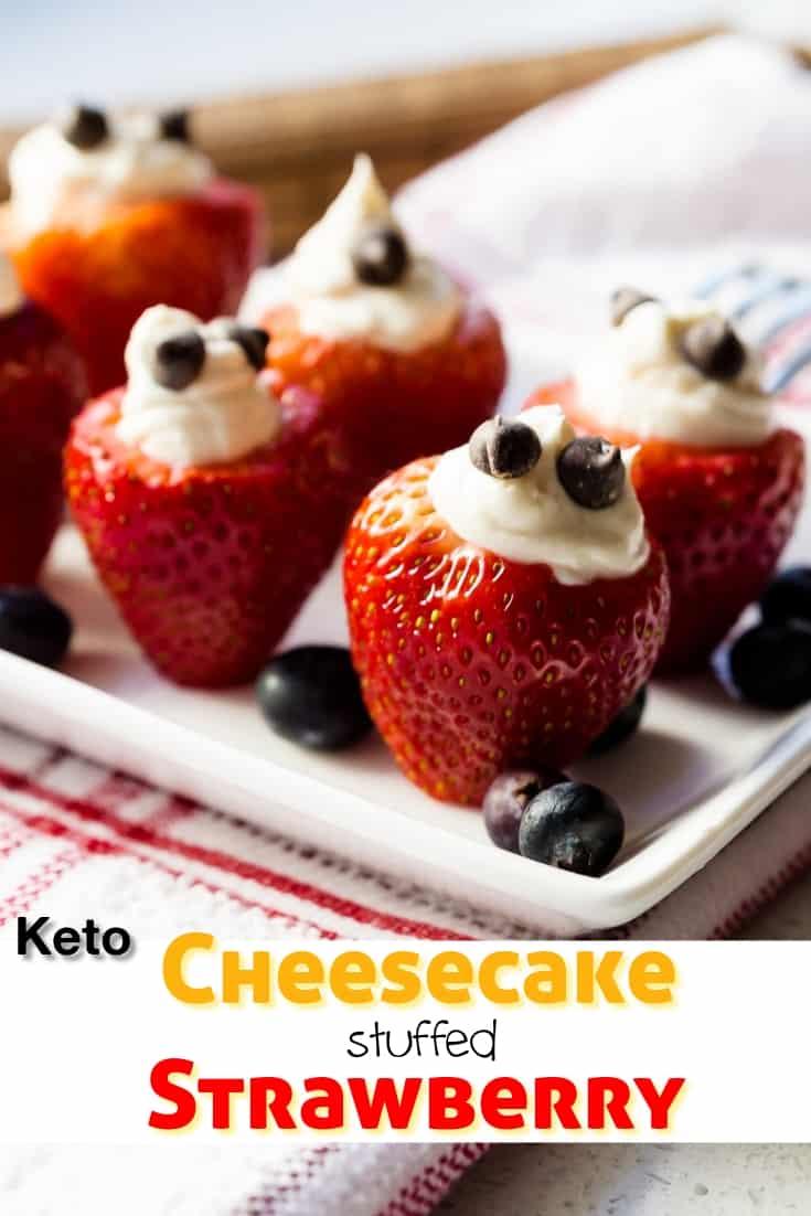 keto Cheesecake Stuffed Strawberry pin 1