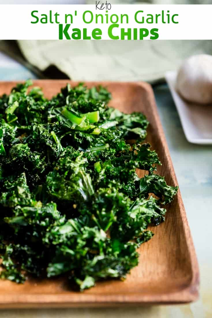 keto Salt n' Onion Garlic Kale Chips pin 1