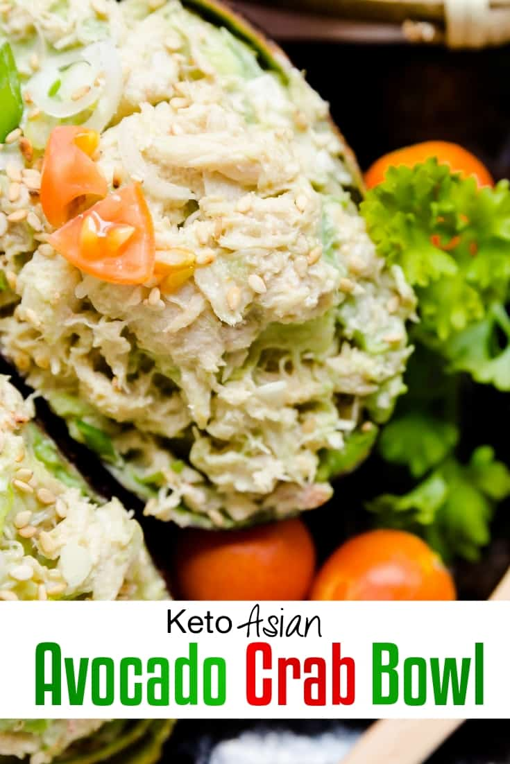 keto Asian Avocado Crab Bowl pin 1
