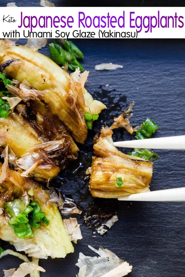 keto Japanese Roasted Eggplants with Umami Soy Glaze Yakinasu pin 2