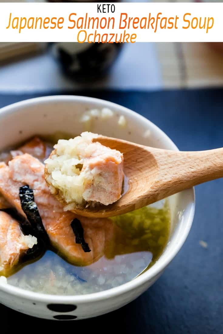 keto Japanese Salmon Breakfast Soup - Ochazuke pin 2