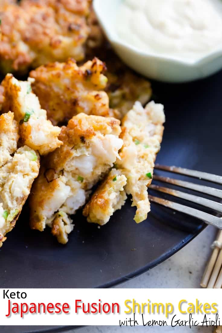 keto Japanese Fusion Shrimp Cakes with Lemon Garlic Aioli pin 1