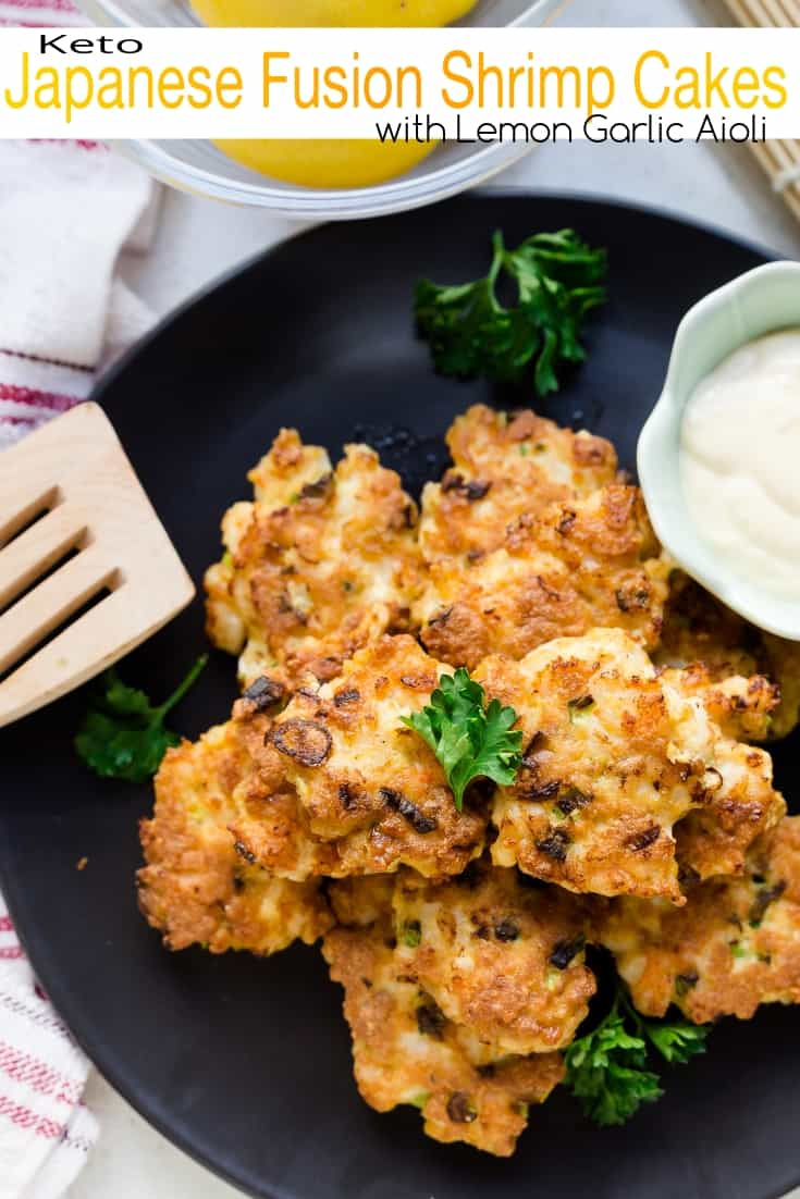 keto Japanese Fusion Shrimp Cakes with Lemon Garlic Aioli pin 2