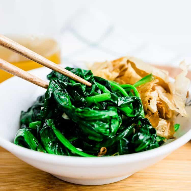 Garlic Spinach Stir Fry LowCarbingAsian Cover