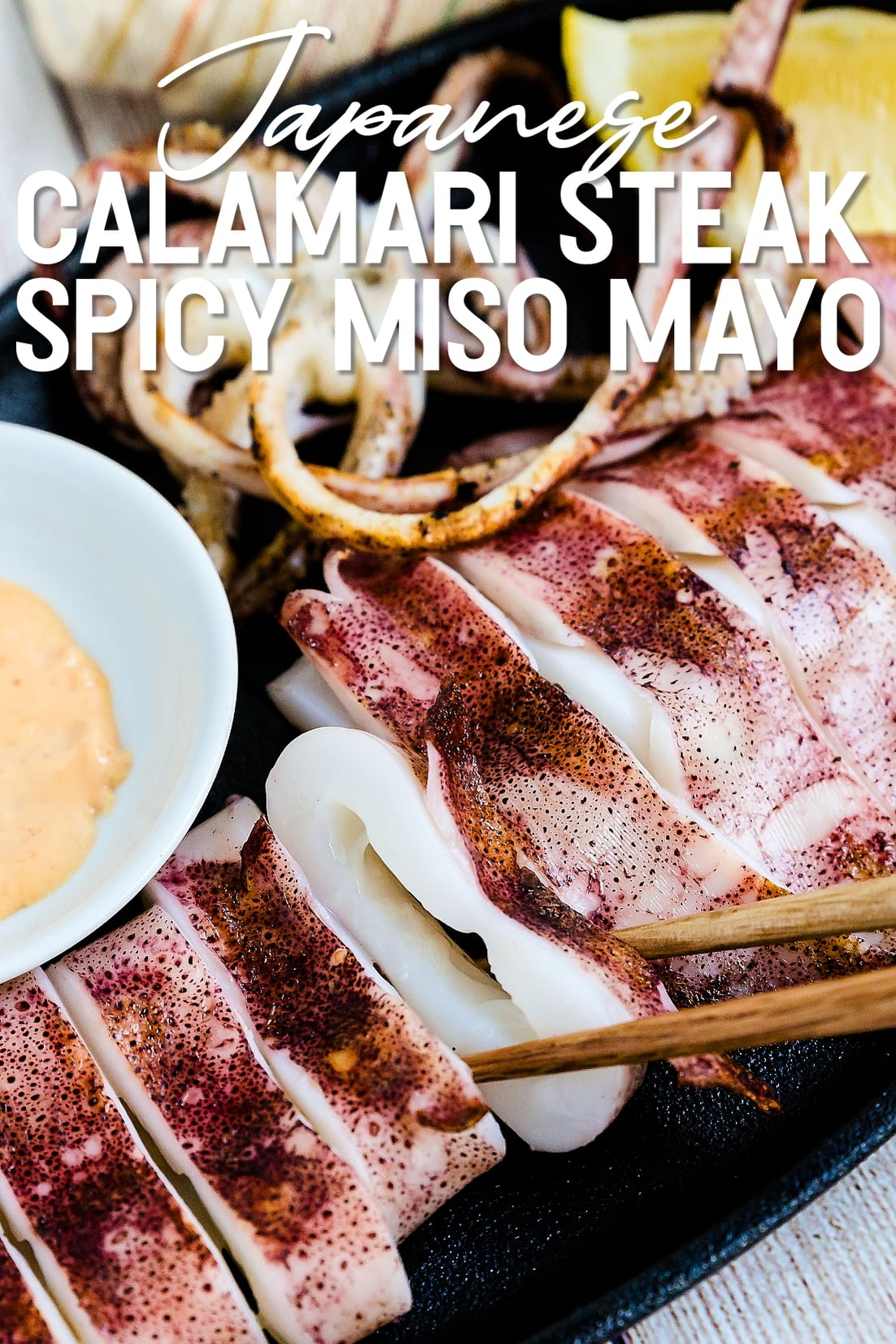 Japanese BBQ Calamari with chopsticks