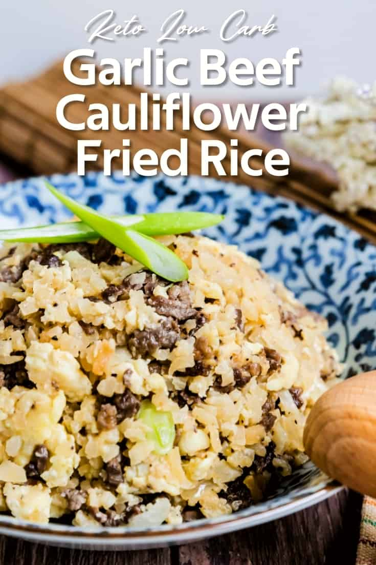 Japanese Garlic Beef Cauliflower Fried Rice - Chahan LowCarbingAsian Pin 1