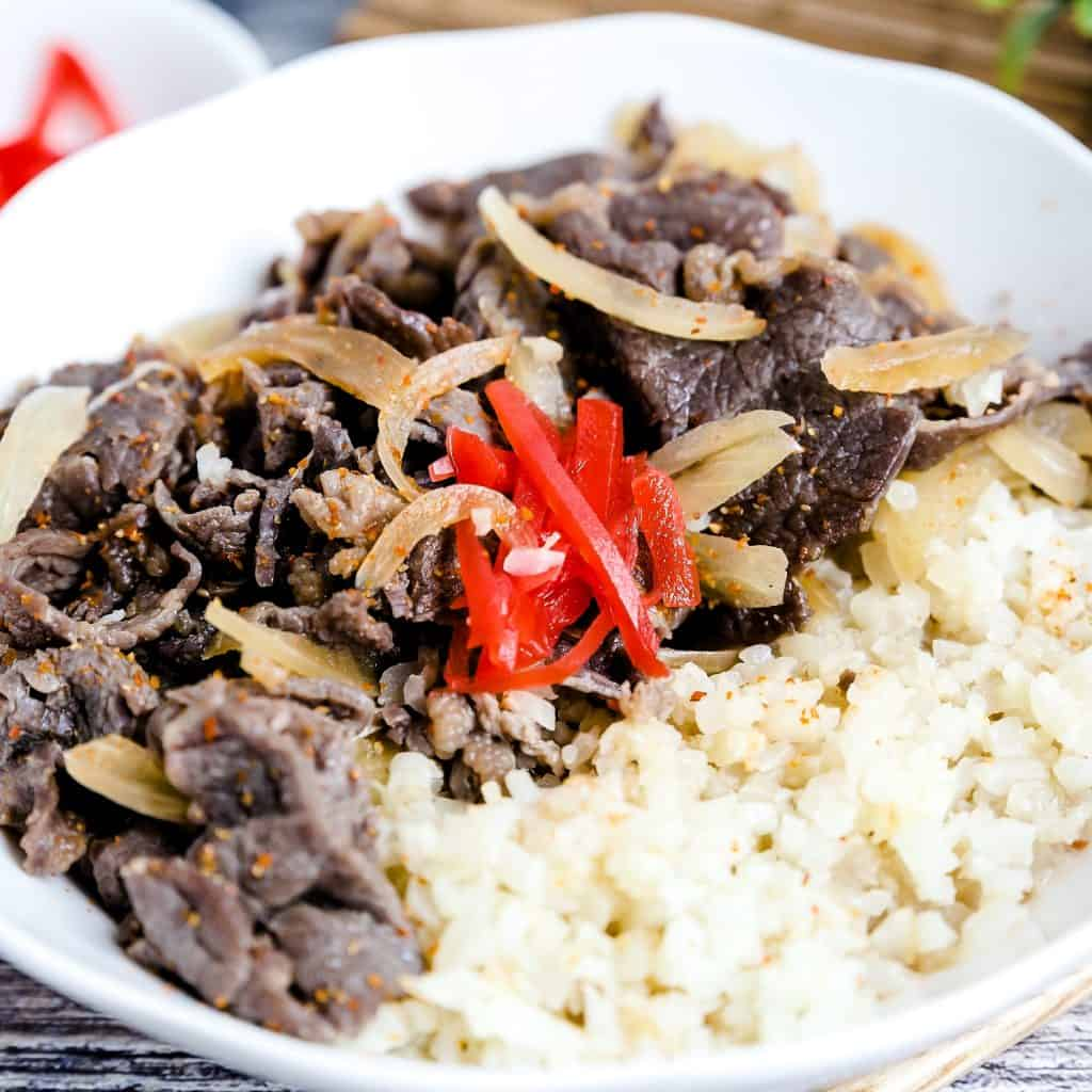 Japanese Gyudon Beef Bowl LowCarbingAsian Pic 1