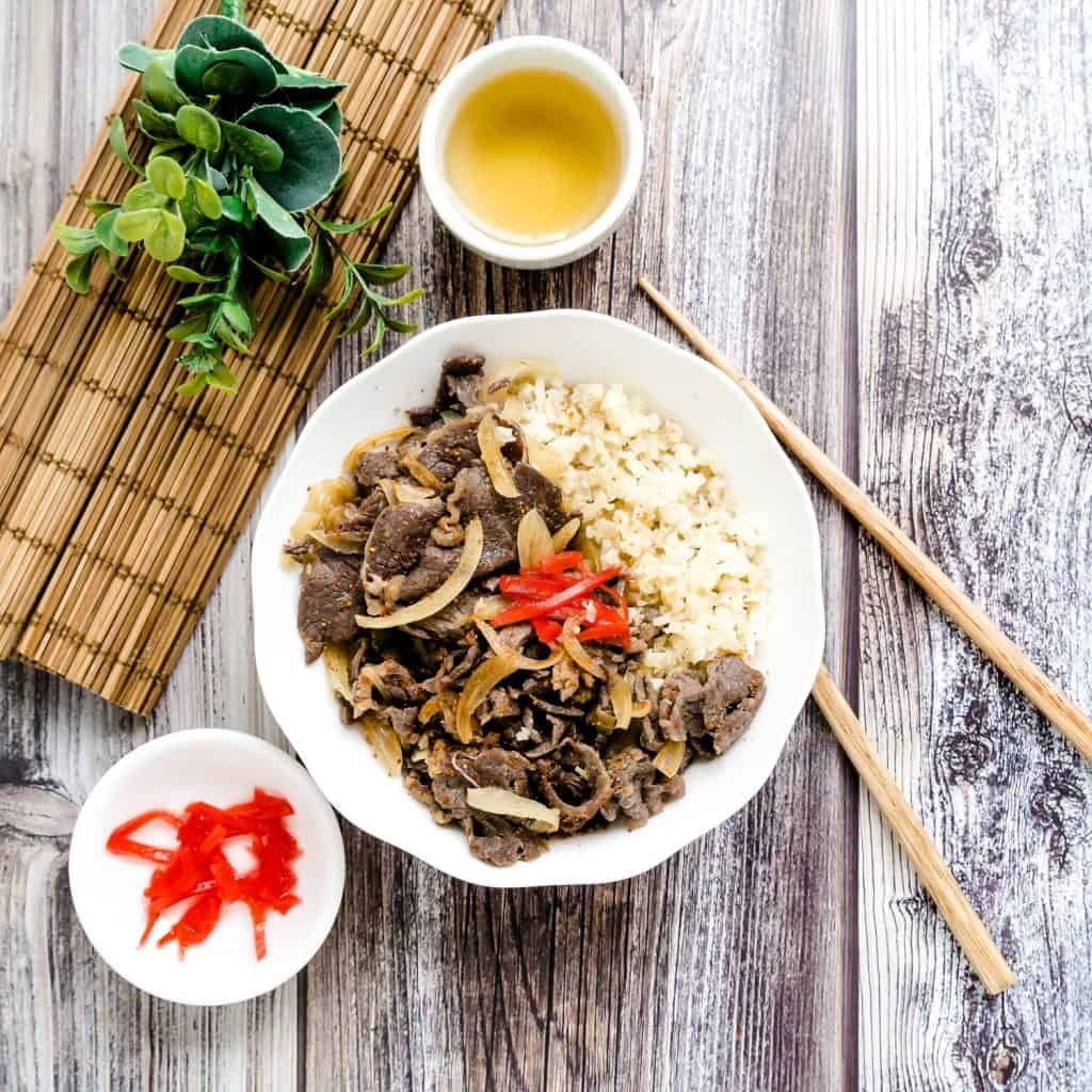 Japanese Gyudon Beef Bowl LowCarbingAsian Pic 2