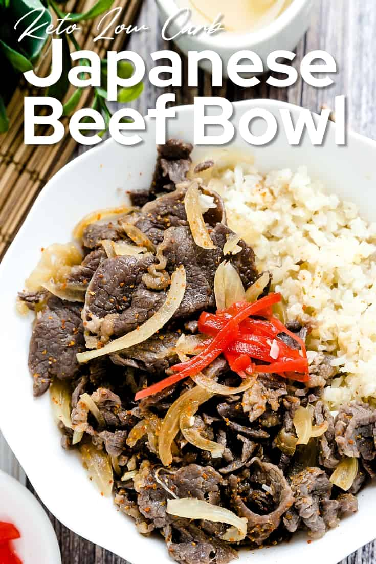 Keto Low Carb Japanese Gyudon Beef Bowl