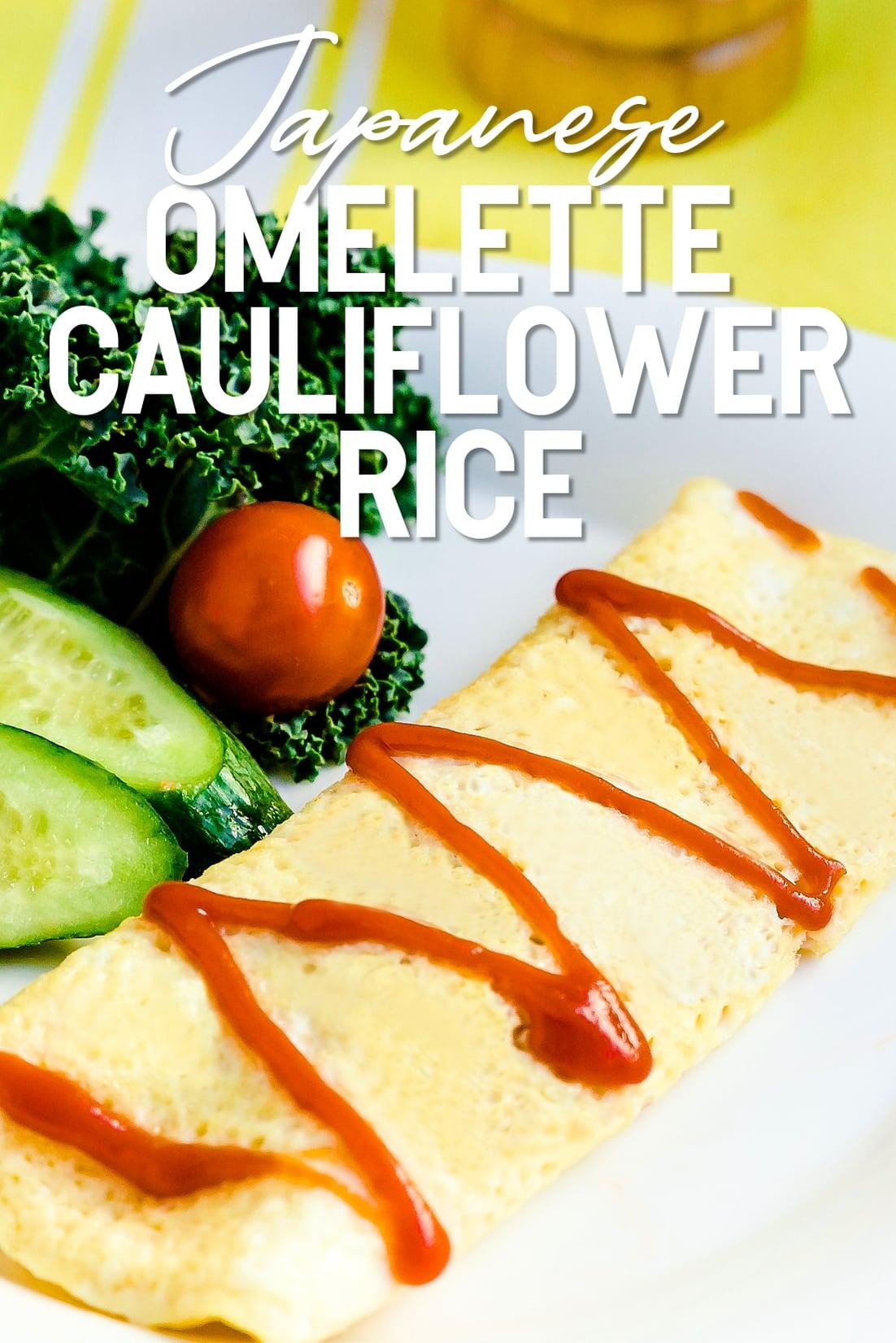 Japanese Omelette Cauliflower Rice close up