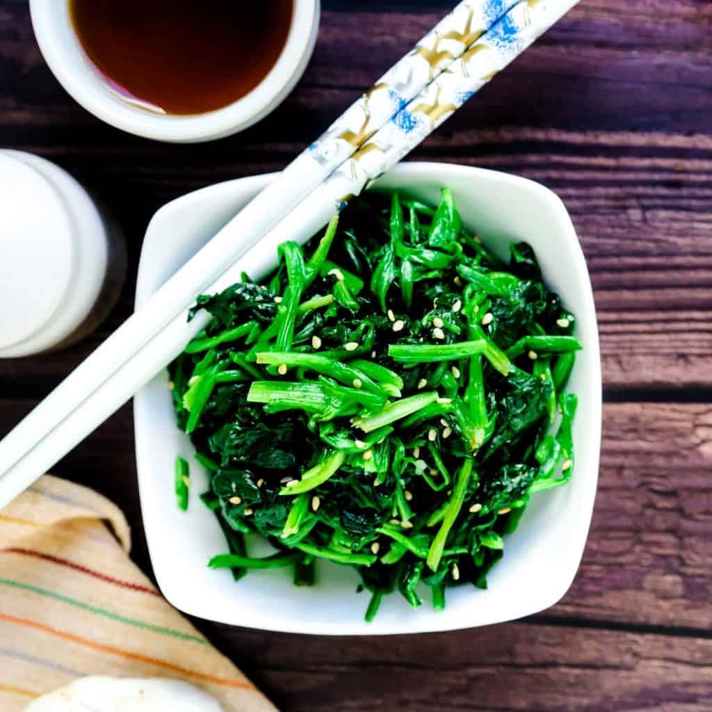 Korean Inspired Garlic Sesame Spinach Salad LowCarbingAsian Pic 2